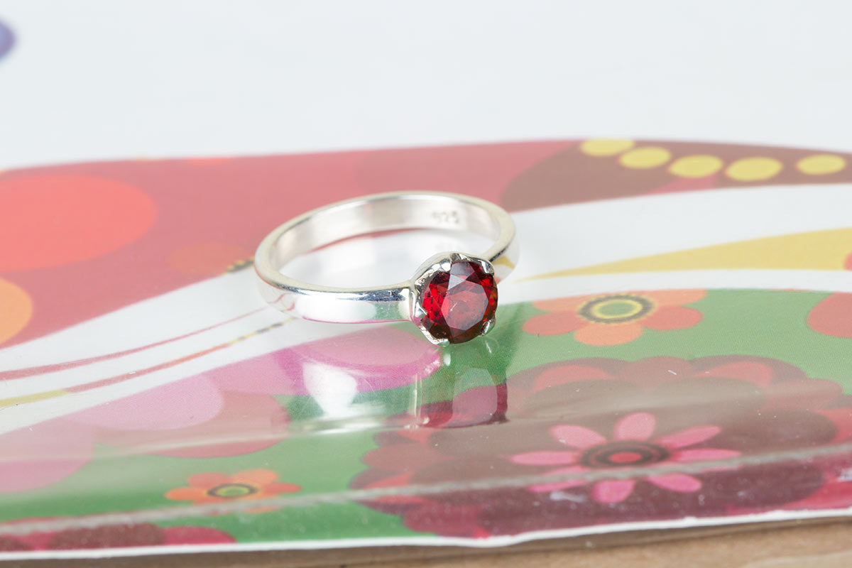 Unique Handmade Faceted Garnet Gemstone 925 Silver Ring All Size Solid Red