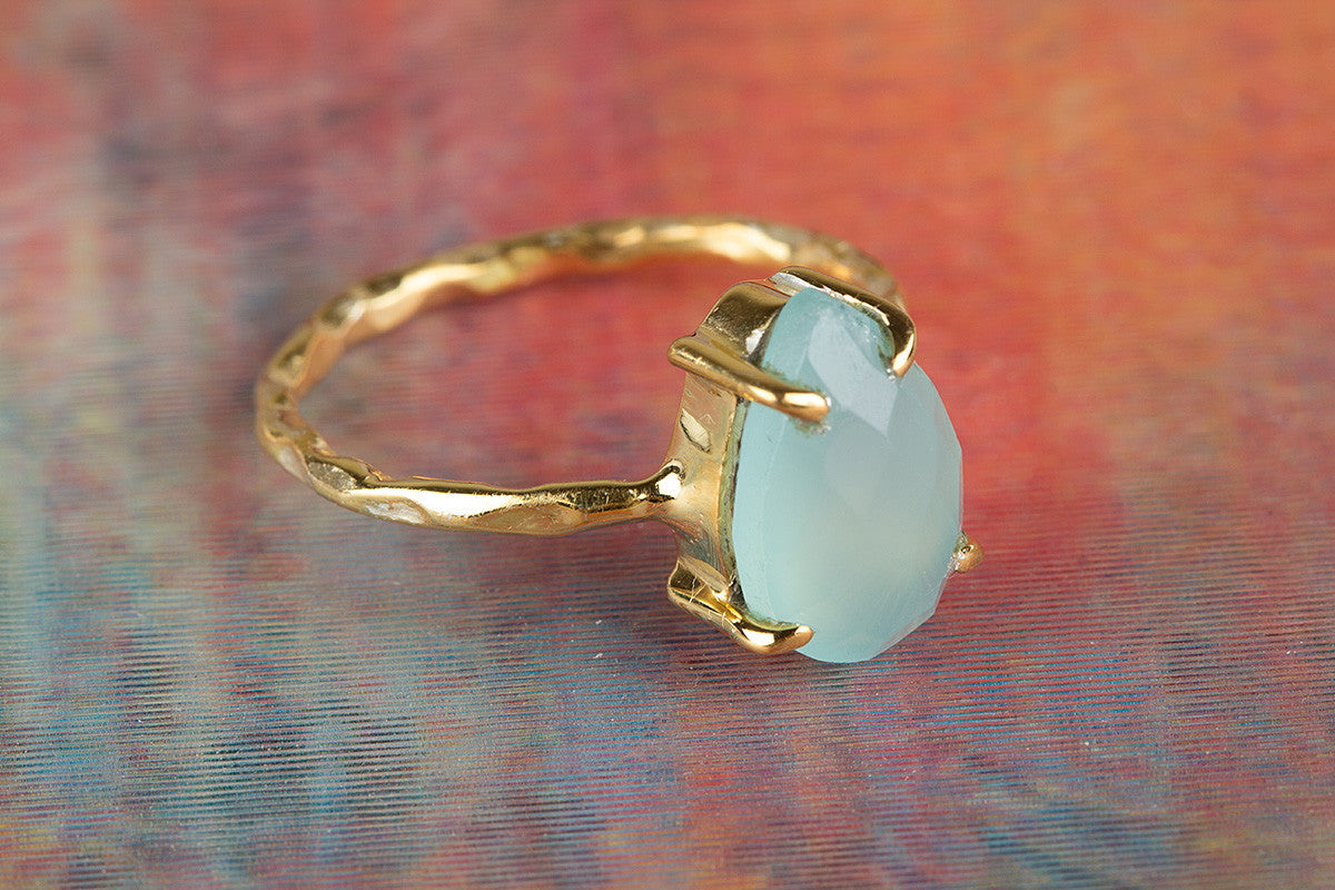 Gold Plated 925 Faceted Aqua Chalcedony Gemstone Silver Ring
