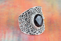 Handmade Faceted Black Onyx 925 Silver Ring