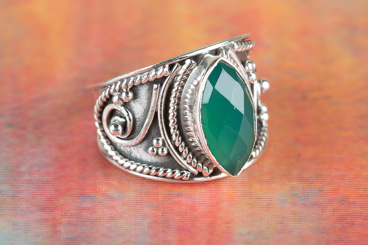 Green Onyx Ring, Sterling Silver Ring, Boho Jewelry Ring, Statement Ring, May Birthstone Ring, Faceted Stone Ring, Gypsy Style Ring, Hippie
