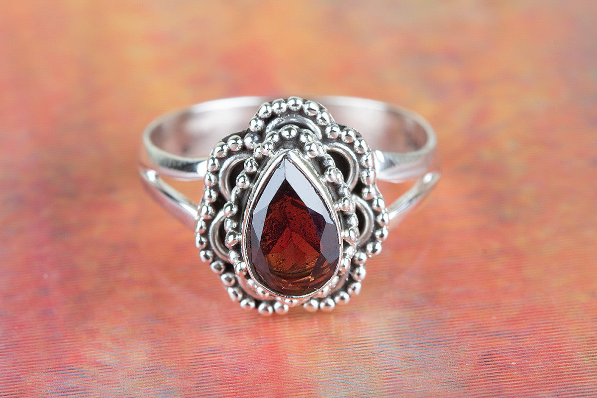 Amazing Faceted Garnet Gemstone Handmade 925 Sterling Silver Ring