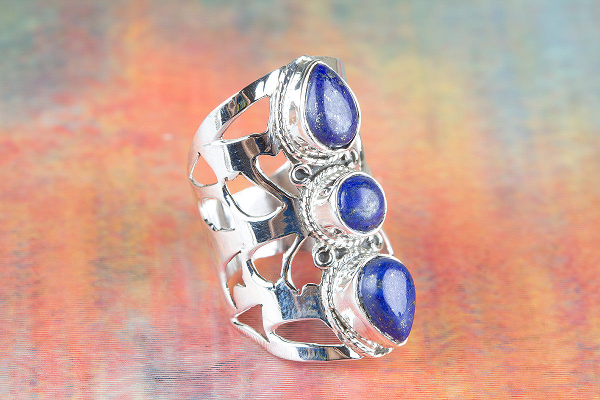 Awesome Lapis Lazuli Gemstone Handmade 925 Sterling Silver Ring