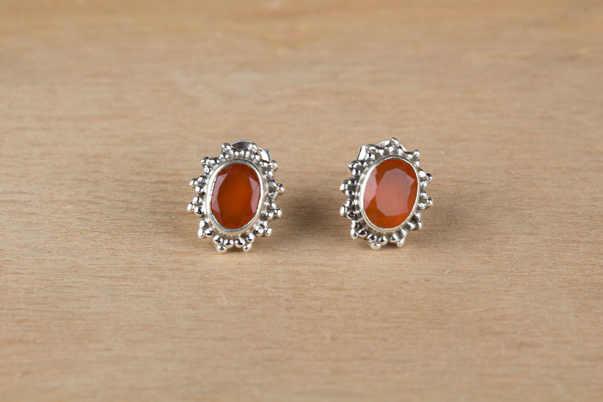 Superb Sterling Silver Carnelian Studs
