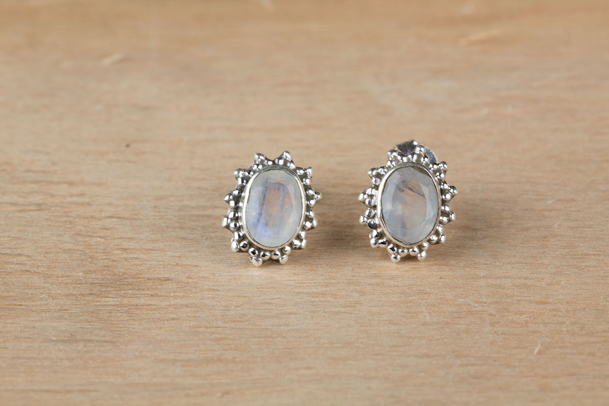 Genuine Moonstone Earrings Stud In Sterling Silver