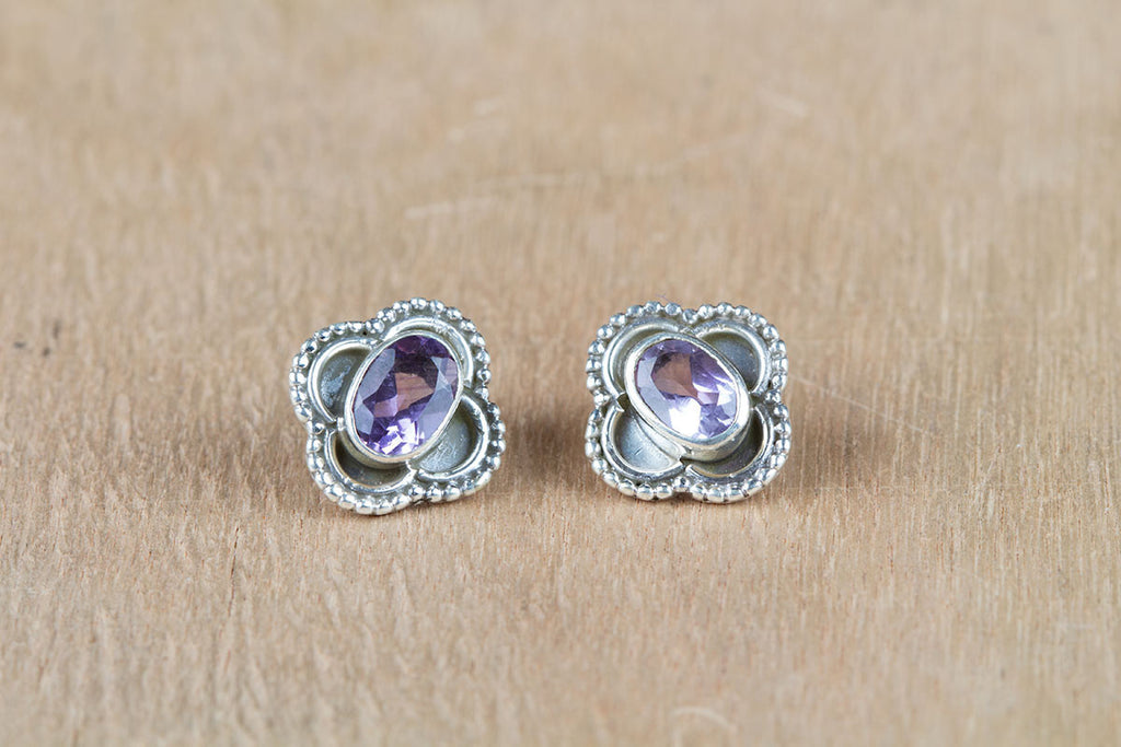Authentic Purple Amethyst Studs Earrings