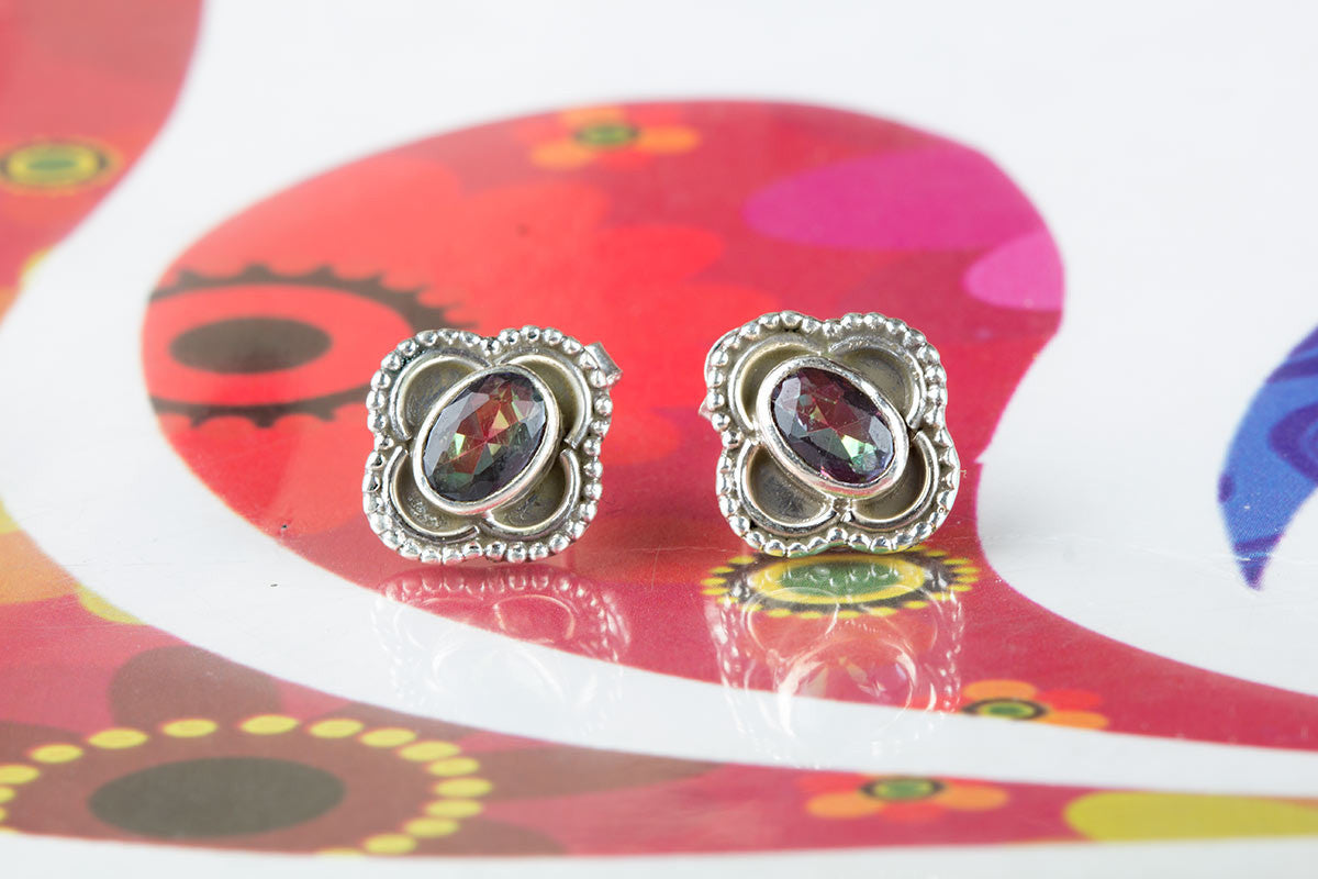 Beautiful Multi Colour Mystic Topaz Silver Studs