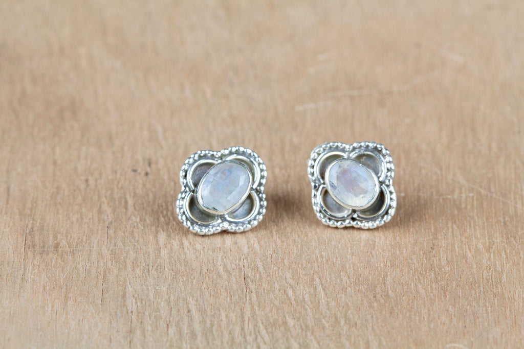 Best Selling Rainbow Moonstone Stud Earrings