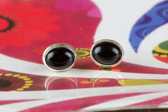 Wonderful Black Onyx Gemstone & Pure 925 Sterling Silver Stud Earrings