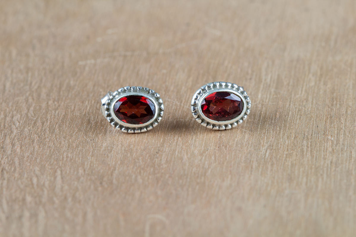 Natural Red Garnet 925 Silver Studs Earring