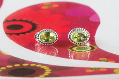 Genuine Peridot Earrings Sterling Silver Studs