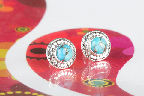 Amazing Blue Copper Turquoise Gemstone 925 Silver Studs