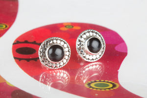 Amazing Black Onyx Gemstone 925 Silver Studs