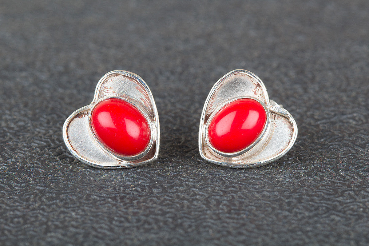 Amazing Coral Gemstone 925 Silver Studs