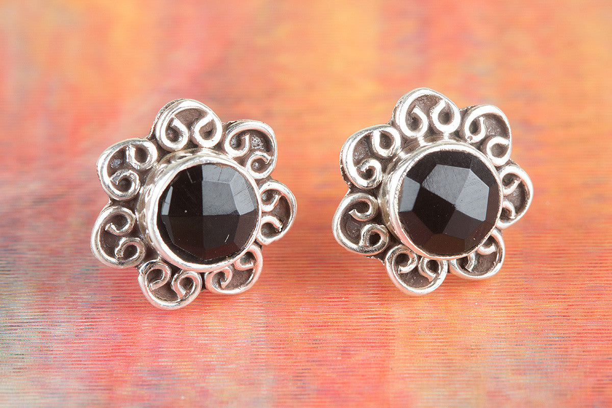 Amazing Faceted Black Onyx Gemstone 925 Silver Studs