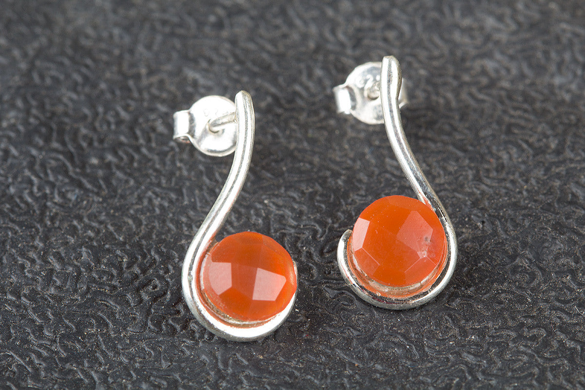 Amazing Faceted Carnelian Gemstone 925 Silver Studs