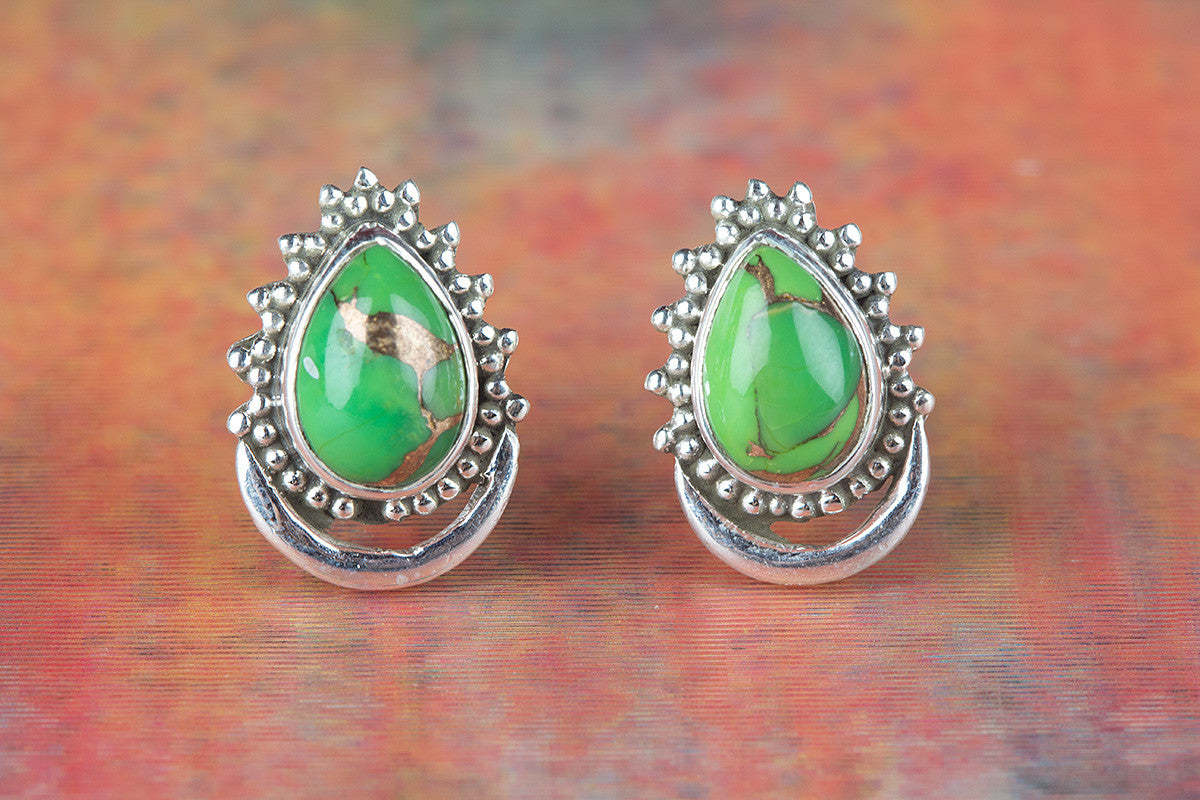 Amazing Green Turquoise Gemstone 925 Silver Studs