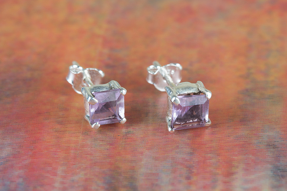Amazing Faceted Amethyst Gemstone 925 Silver Studs