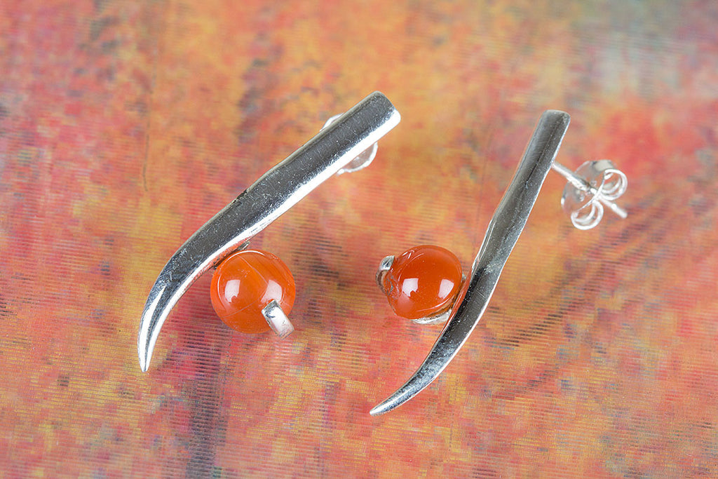 Sword Shape Carnelian Gemstone & pure 925 Sterling Silver Earrings Earring
