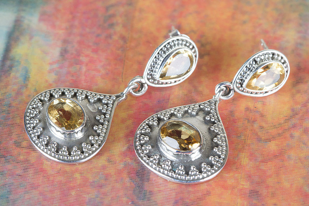 Fantastic Faceted Citrine Gemstone & Pure 925 Sterling Silver Earring