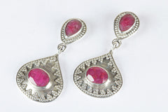 Fantastic Ruby Gemstone & Pure 925 Sterling Silver Earring