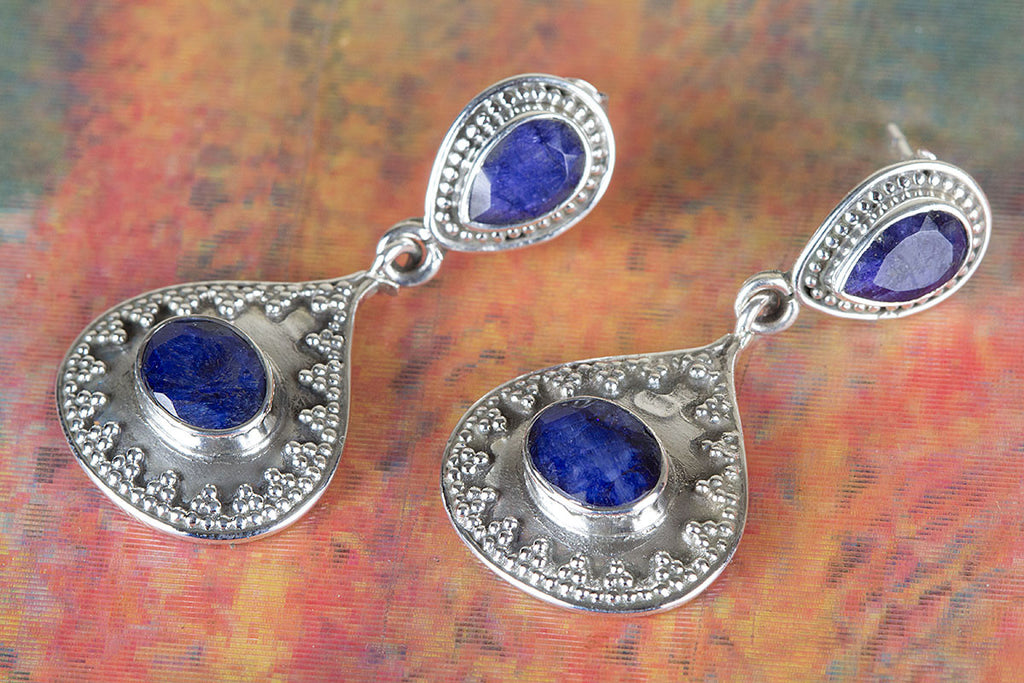 Chunky Sapphire Gemstone & Pure 925 Sterling Silver Earring