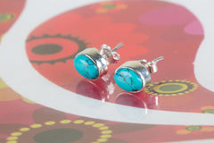 Authentic Sterling Silver Turquoise Studs