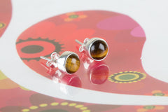 Rare Tiger Eye Silver Stud Earrings