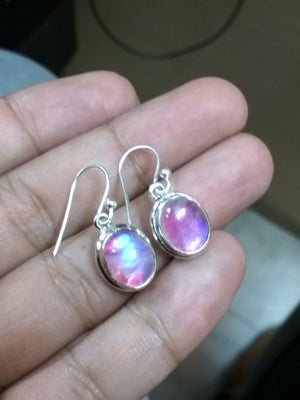 Moonstone Earring, Pink Moonstone Earring, Dangle earring, Bridal Gift, Mermaid Gift , Sterling Silver Earring, Handmade Earring