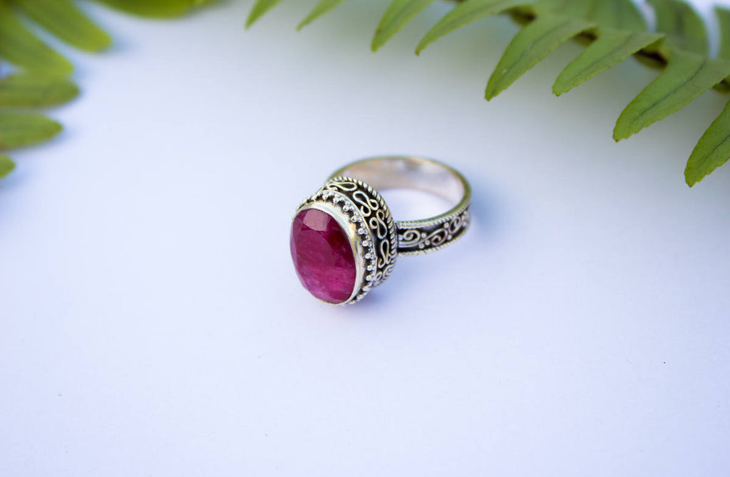 Handmade Artisan Ruby Ring in Sterling Silver