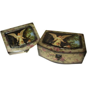 Set of 2 Angel Wooden Boxes - Caring Angel