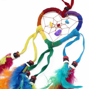 6x Bali Dreamcatchers - Small Heart - Rainbow