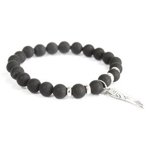 3x Angel Wing / Black Agate - Gemstone Bracelet