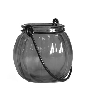 Recycled Pumpkin Candle Lantern - Grey