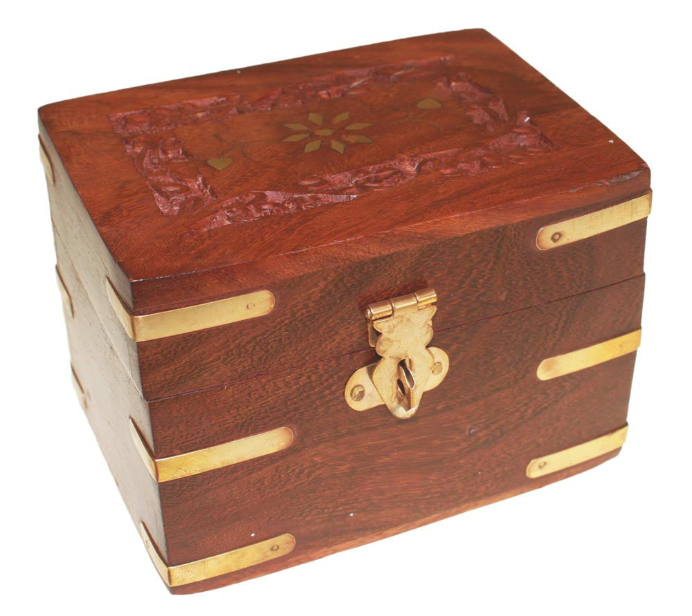 Carved Wooden Box holds 6 x 10ml bottles
