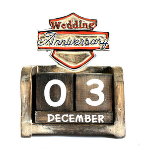 Day to Remember Calendar - Wedding Anniversary - carved sign