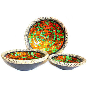 Set of Three Hand Made Rattan Mosaic Bowls - Ruby Dusk