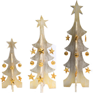 1x Set of 3 Minimalist Xmas Trees - White & Gold