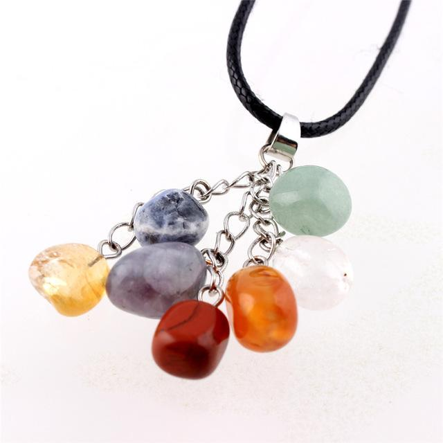 Colourful Natural Stone Pendant Necklace Leather Chain Chakra Healing Crystal