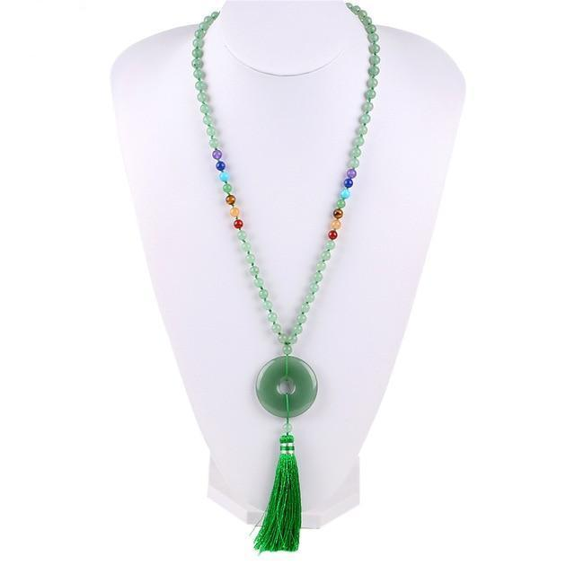 Boho Long Maxi Tassel Necklace with 7 Chakra Natural Gemstones