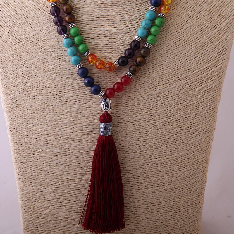 Long Tassel Multi Stone Buddha Seven Chakras Necklace