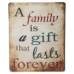 Metal Plaque - A Family is a Gift