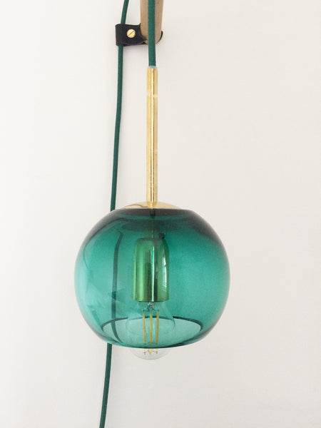 Emerald green glass hanging wall light