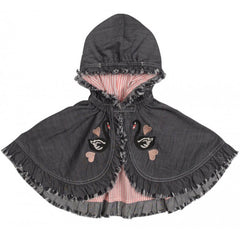 swam embroidery frilled cape - multi