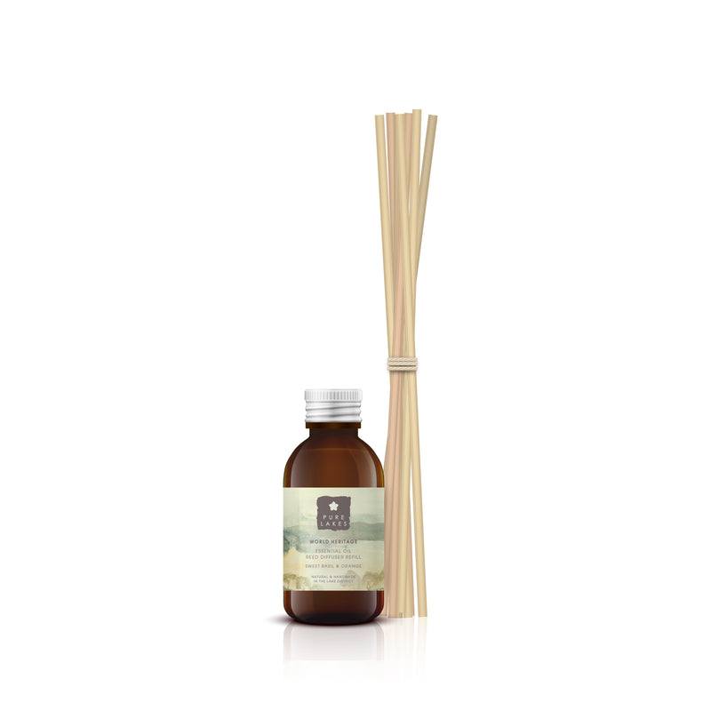 Essential Oil Reed Diffuser - World Heritage Sweet Basil & Orange Diffuser Pure Lakes Skincare