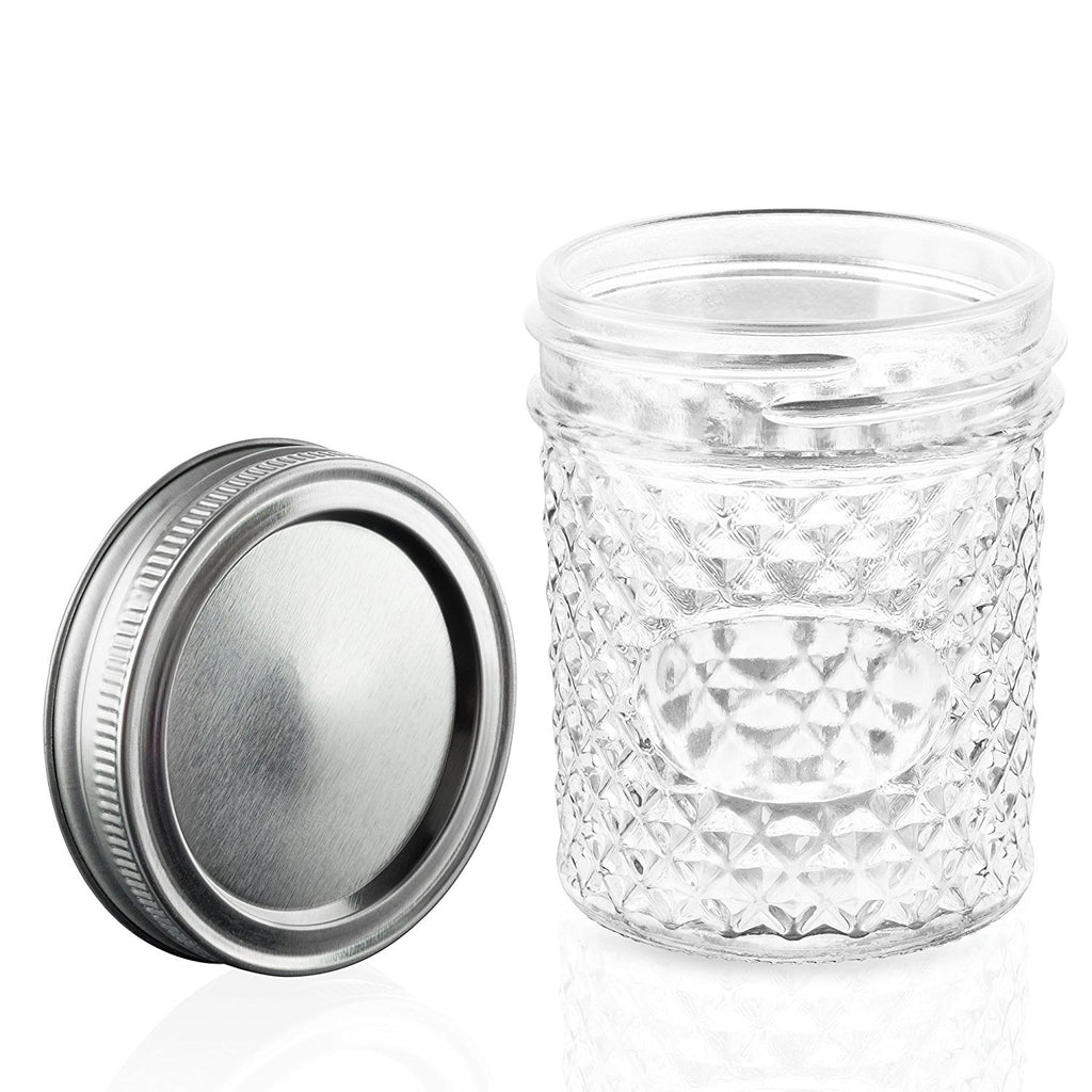 6oz quilted glass jars with lids nellam