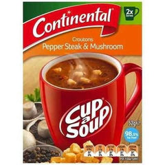 Continental Cup a Soup -  Croutons Pepper Steak & Mushroom 2pk