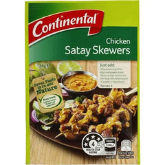 Continental Recipe Base Chicken Satay Skewers  34g