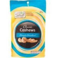 Woolworths Select Cashews Unsalted 200g