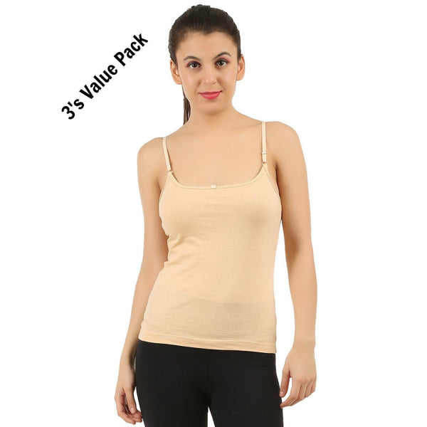 Skin Cotton Camisole (Pack of 3) - TirupurFactorySale.com