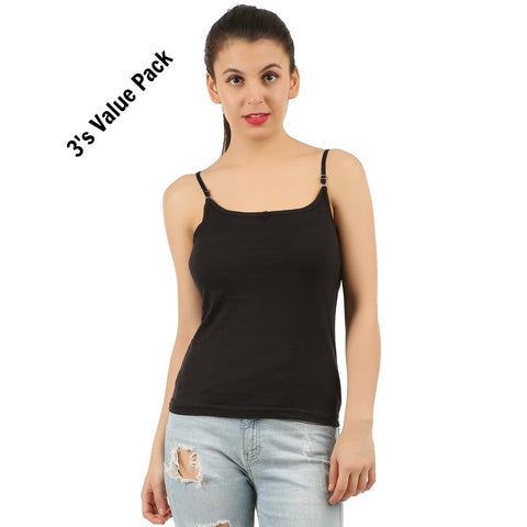 Black Cotton Camisole (Pack of 3)